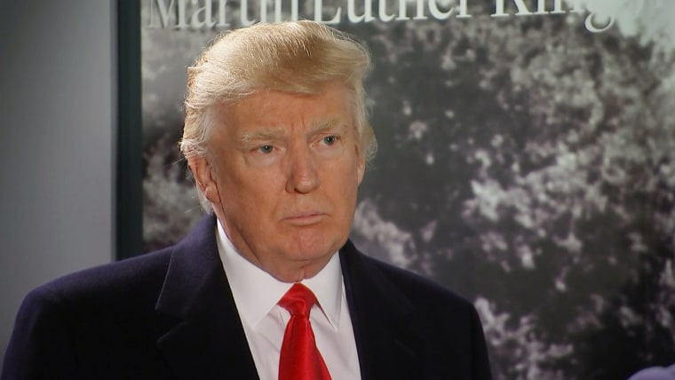 Donald Trump is interviewed during his visit to the National Museum of African American History and Culture in Washington, on Feb. 21, 2017.