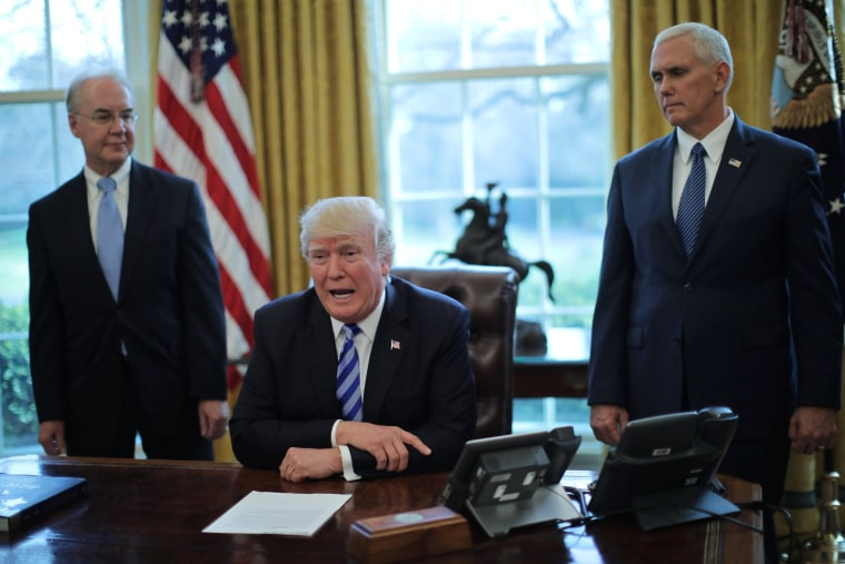 Image: President Trump talks to journalists at the Oval Office of the White House after the AHCA health care bill was pulled before a vote, accompanied by U.S. Health and Human Services Secretary Price and Vice President Pence, in Washington