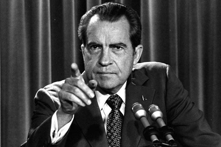 In this March 15, 1973, file photo President Nixon tells a White House news conference that he will not allow his legal counsel, John Dean, to testify on Capitol Hill in the Watergate investigation. (Photo by Charles Tasnadi/AP)