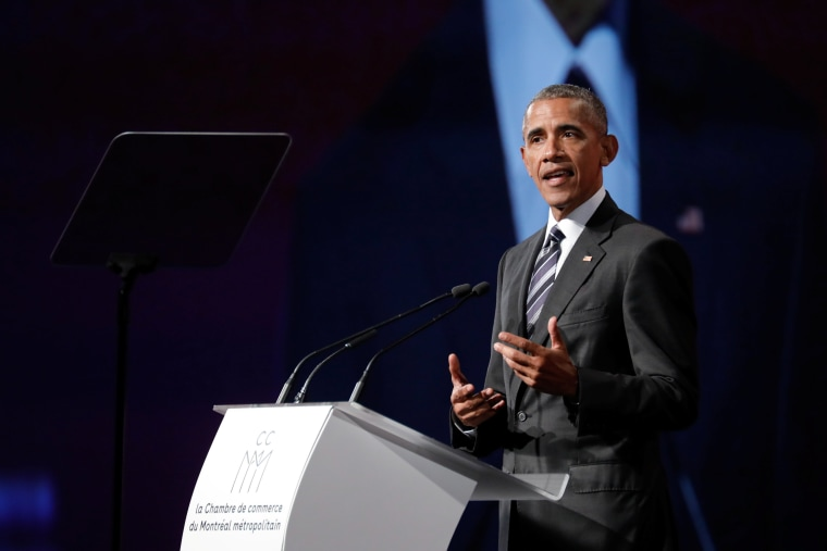 Image: Former U.S. President Barack Obama delivers his keynote speech to the Montreal Chamber of Commerce in Montreal