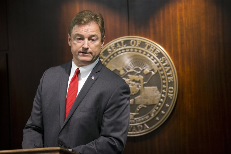 Sen. Dean Heller, R-Nev., during a press conference where he announced he will vote no on the proposed GOP healthcare bill at the Grant Sawyer State Office Building on Friday, June 23, 2017 in Las Vegas.