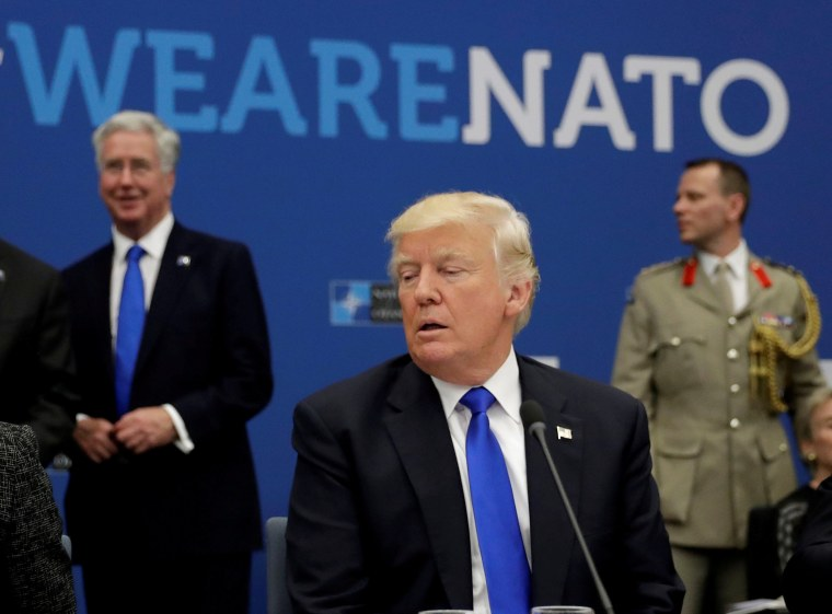 Image: FILE PHOTO: U.S. President Donald Trump attends a working dinner meeting at the NATO headquarters in Brussels