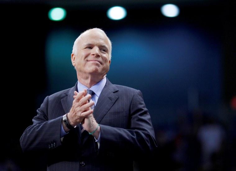 Image: FILE PHOTO: U.S. Republican presidential nominee Senator John McCain listens as he is introduced at a campaign rally in Fayetteville