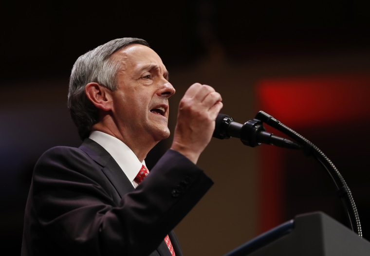 Pastor Robert Jeffress of the First Baptist Dallas Church Choir speaks as he introduces President Donald Trump during the Celebrate Freedom event at the Kennedy Center for the Performing Arts in Washington, Saturday, July 1, 2017.
