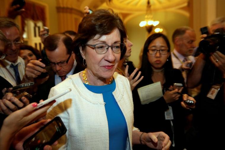 Image: FILE PHOTO: Senator Susan Collins talks to reporters