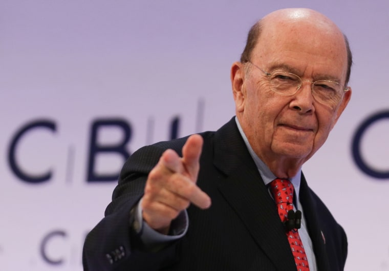 U.S. Secretary of Commerce, Wilbur Ross gestures as he leaves after addressing delegates at the annual Confederation of British Industry (CBI) conference in east London, on November 6, 2017.