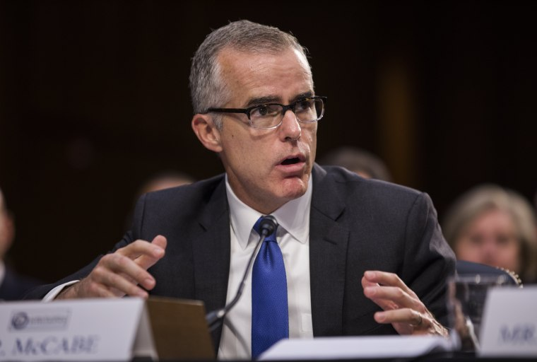 (FILE) Acting FBI Director Andrew McCabe testifies before a Senate Intelligence Committee hearing on the 'Foreign Intelligence Surveillance Act' in the Hart Senate office Building in Washington, DC, June 7, 2017.