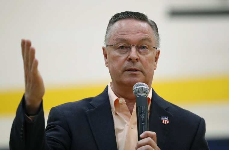 Rep. Rod Blum, R-Iowa, speaks during a town hall meeting, Thursday, May 11, 2017, in Marshalltown, Iowa.