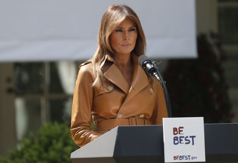 "Image: U.S. first lady Melania Trump announces the launch of her ""Be Best"" initiative at the White House in Washington"