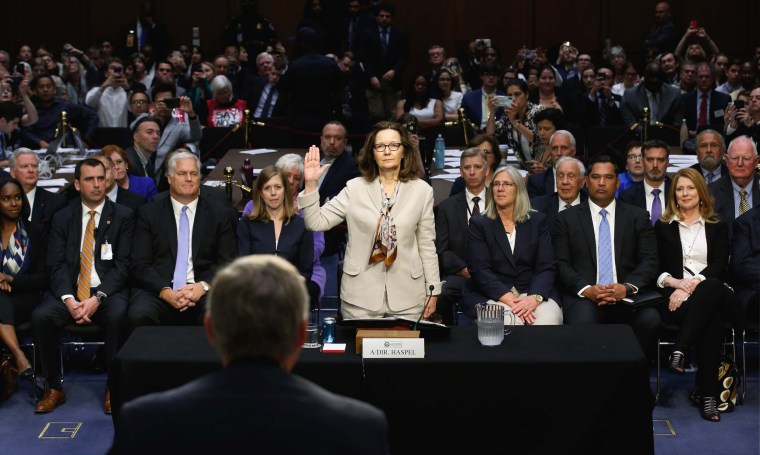 Image: CIA director nominee Haspel is sworn in to testify at her Senate Intelligence Committee confirmation hearing in Washington