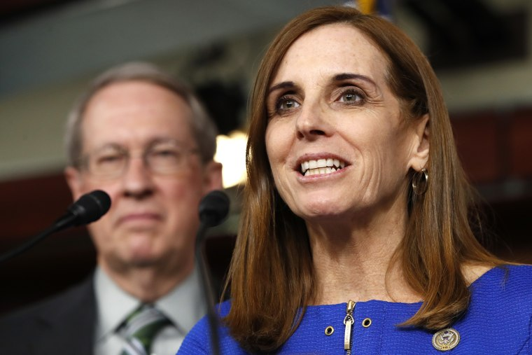House Homeland Security Border and Maritime Security Subcommittee Chairwoman Rep. Martha McSally, R-Ariz., speaks during a news conference with House Judiciary Committee Chairman Rep. Bob Goodlatte, R-Va. on Capitol Hill in Washington, Jan. 10, 2018.