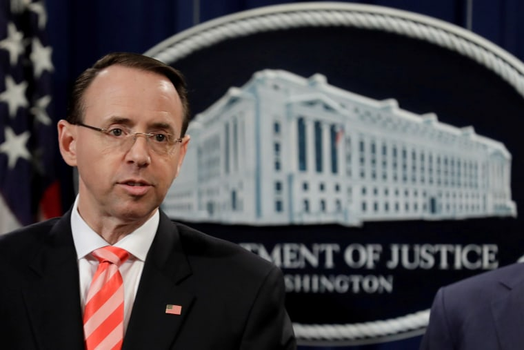 Image: FILE PHOTO: Deputy Attorney General Rod Rosenstein speaks at a news conference