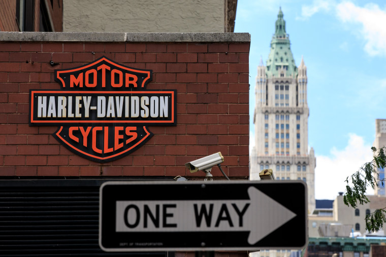 The Harley Davidson logo is displayed on the outside of the Harley-Davidson of New York City store, June 25, 2018 in New York City.