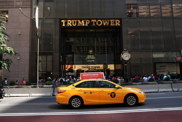 Image: A taxi goes past Trump Tower in New York City