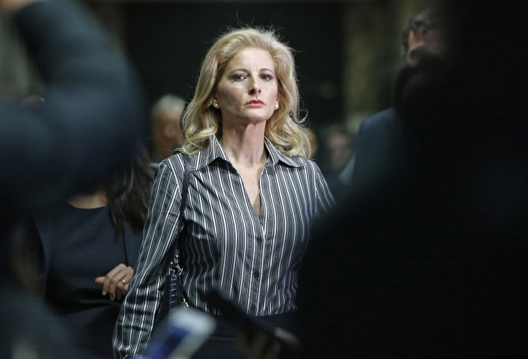 In this Dec. 5, 2017 file photo, Summer Zervos leaves Manhattan Supreme Court at the conclusion of a hearing in New York.