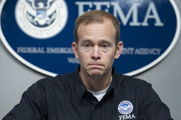 Federal Emergency Management Agency (FEMA) Administrator Brock Long delivers update on federal actions to support Hurricane Irma response in Washington, Friday, Sept. 15, 2017.