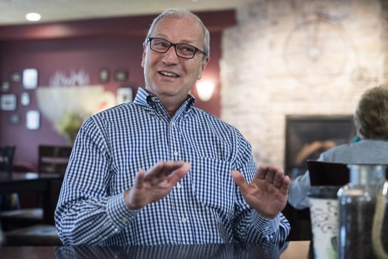 UNITED STATES - AUGUST 17: Rep. Kevin Cramer, R-N.D., is interviewed at Boneshaker Coffee in Bismarck, N.D., on August 17, 2018. Cramer is running against...