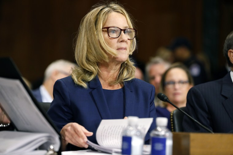 Dr. Christine Blasey Ford speaks before the Senate Judiciary Committee hearing on the nomination of Brett Kavanaugh to be an associate justice of the Supreme Court of the United States on Capitol Hill September 27, 2018 in Washington, DC.