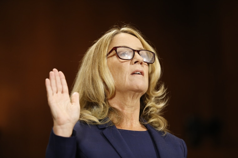 Dr. Christine Blasey Ford is sworn in before the Senate Judiciary Committee hearing on the nomination of Brett Kavanaugh to be an associate justice of the Supreme Court of the United States, on Capitol Hill in Washington, DC, September 27, 2018.
