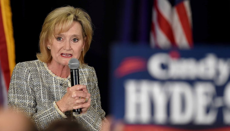 Republican U.S. Senator Cindy Hyde-Smith for Mississippi talks to supporters following the 2018 mid-term general election in Jackson, Mississippi, November 6, 2018.