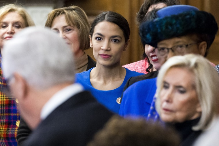 Democratic representative from New York Alexandria Ocasio-Cortez during an event with Democratic members of Congress and national organization members to reintroduce the Paycheck Fairness Act, on Capitol Hill in Washington, D.C., January 30, 2019.