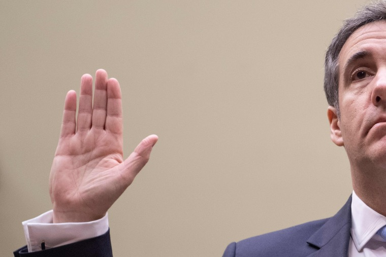 Michael Cohen, President Donald Trump's former personal attorney, is sworn in to testify before the House Oversight and Reform Committee in the Rayburn House Office Building on Capitol Hill in Washington, D.C. on February 27, 2019.
