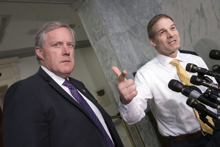 Rep. Mark Meadows, R-N.C., left, and Rep. Jim Jordan, the House Oversight and Reform Committee's ranking member, during a news conference on Capitol Hill in Washington, Tuesday, April 2, 2019.