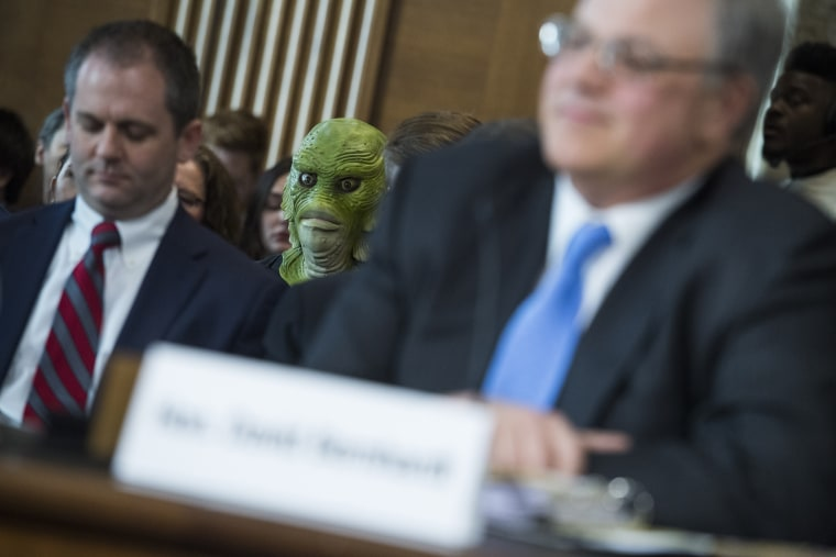A protester is seen during the during the Senate Energy and Natural Resources Committee confirmation hearing for David Bernhardt, nominee to be Secretary of the Interior, March 28, 2019.
