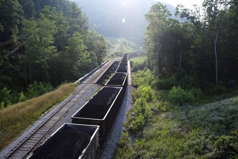 A coal train waits to leave a coal yard in rural West Virginia.