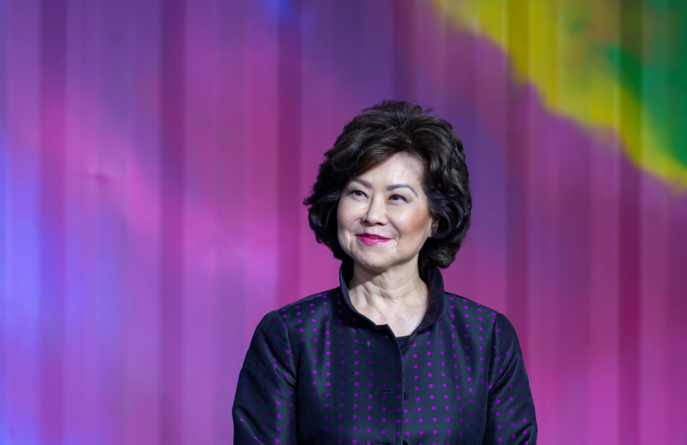 Elaine L. Chao, U.S. Secretary of Transportation, awaits in front of an art project during a meeting in Leipzig main station in the context of the International Transport Forum in Leipzig, Germany, May 22, 2019.