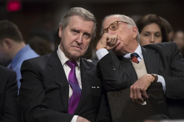 Former Maine Senator and former Defense Secretary William Cohen, left, confers with former Georgia Sen. Sam Nunn as they listen to testimony on Capitol Hill in Washington, Thursday, Jan. 12, 2017.