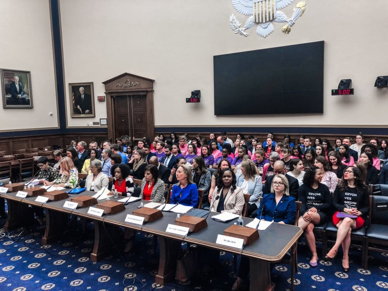 A panel of women appear before the House Judiciary Committee for a hearing on women's reproductive health, June 4, 2016.