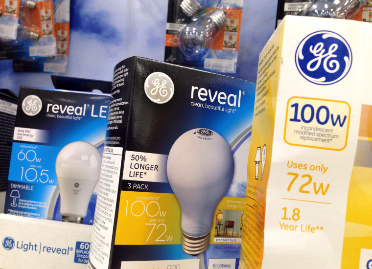 This Jan. 17, 2017, file photo shows General Electric light bulbs on display at a store, in Wilmington, Mass.