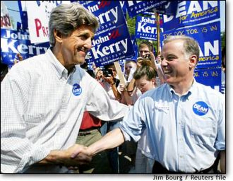 Kerry, left, and Dean were all smiles at a July 4 parade in Amherst, N.H., but Kerry has sharpened his attacks on Dean in the battle to win the nation's first primary.