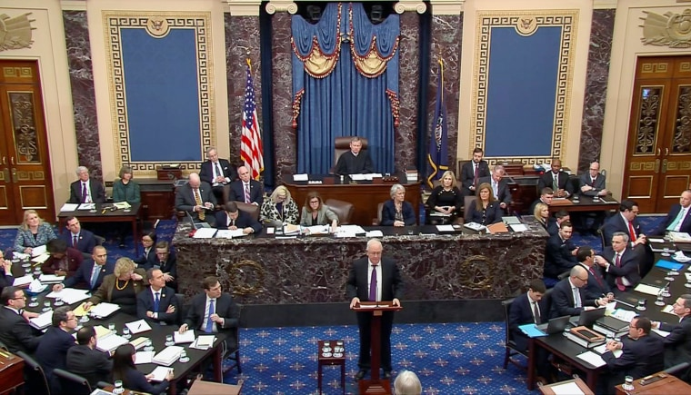Attorney Ken Starr speaks as U.S. President Donald Trump's legal team resumes its presentation of opening arguments in Trump's Senate impeachment trial in this frame grab from video shot in the U.S. Senate Chamber at the U.S. Capitol in Washington, U.S.,