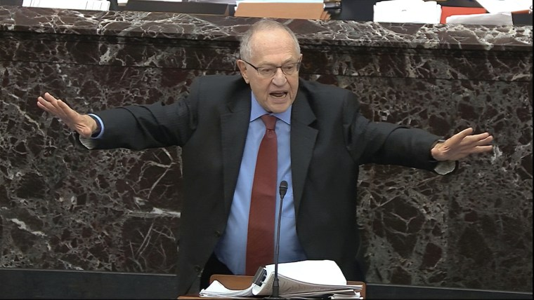 In this image from video, Alan Dershowitz, an attorney for President Donald Trump answers a question during the impeachment trial against Trump in the Senate at the U.S. Capitol in Washington, Wednesday, Jan. 29, 2020.