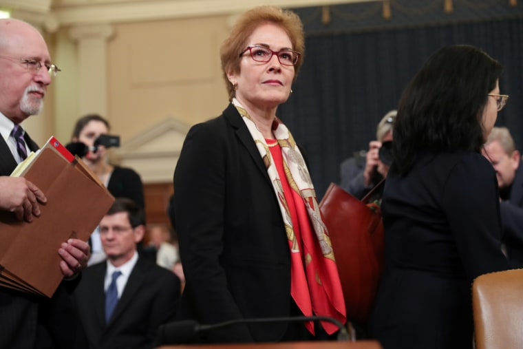 Marie Yovanovitch, former U.S. ambassador to Ukraine, departs after concluding her testimony before a House Intelligence Committee hearing as part of the impeachment inquiry into U.S. President Donald Trump on Capitol Hill in Washington, U.S., November 15
