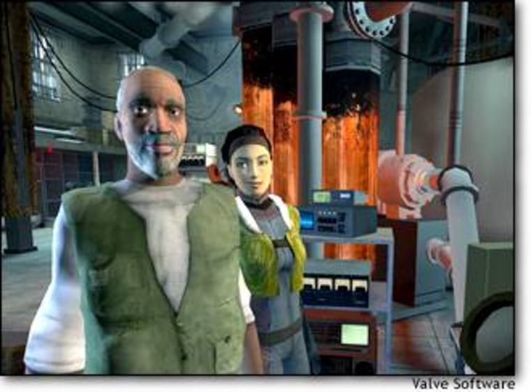 A screen shot from Half Life 2 shows characters Eli Vance and his daughter, Alyx.
