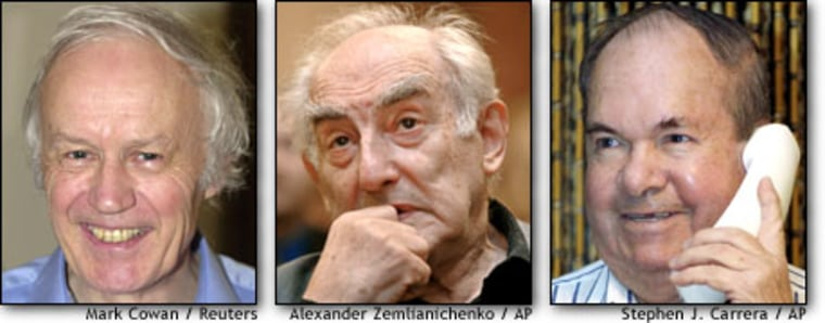 The Nobel Prize for Physics was shared by Anthony Leggett, at left, Vitaly Ginzburg and Alexei Abrikosov for their research into the properties of superconducting materials.