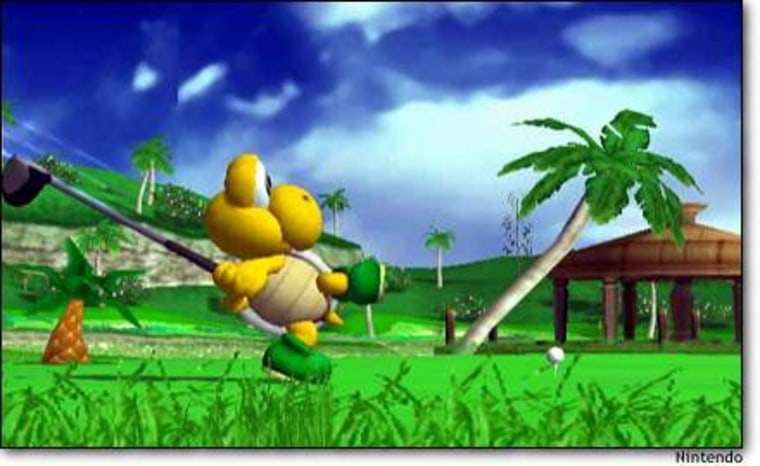"Koopa the turtle lets fly in ""Mario Golf: Toadstool Tour."""