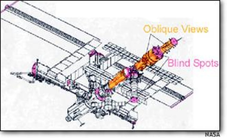"""A NASA graphic shows """"blind spots"""" (in pink) as well as places observable only from oblique angles (in orange) on the exterior of the international space station. Spy satellites and spacewalking astronauts may be needed to inspect those areas for potential damage."""