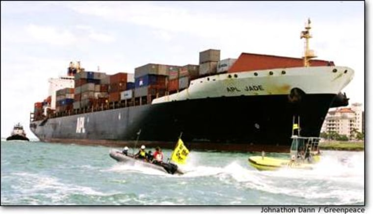 Greenpeace's April 12, 2002, protest against the APL Jade led to the current criminal case.