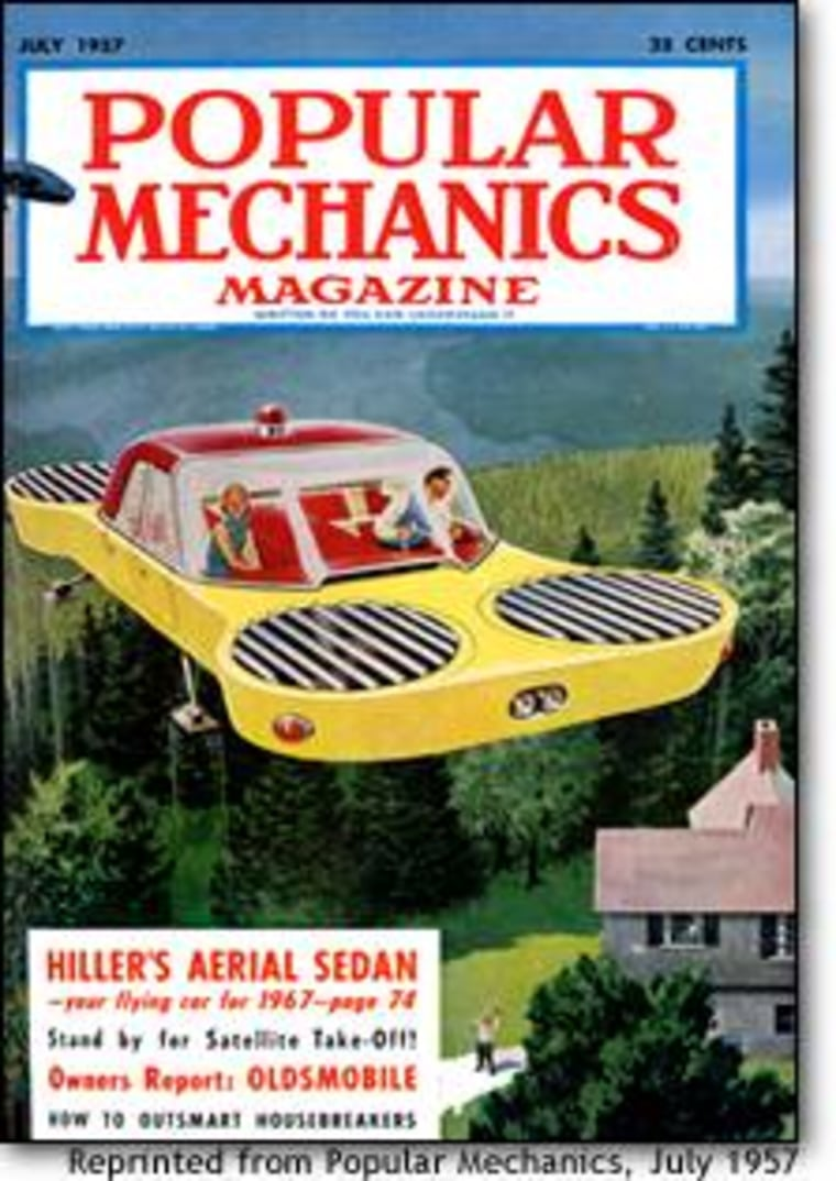 "Automobiles that fly have been an old standby for magazines such as Popular Mechanics, which published its first ""flying car"" story in 1906. This is the cover from July 1957. © Image Copyright The Hearst Corporation. All Rights Reserved."