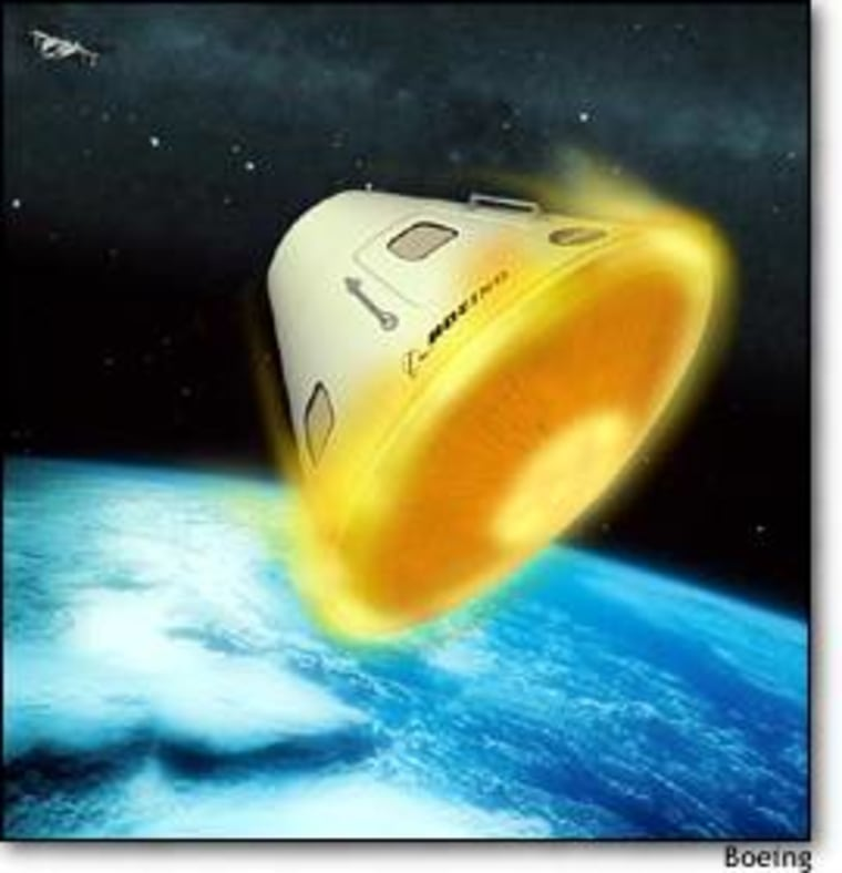 An artist's rendition shows an Apollo-style version of the Orbital Space Plane re-entering the atmosphere.