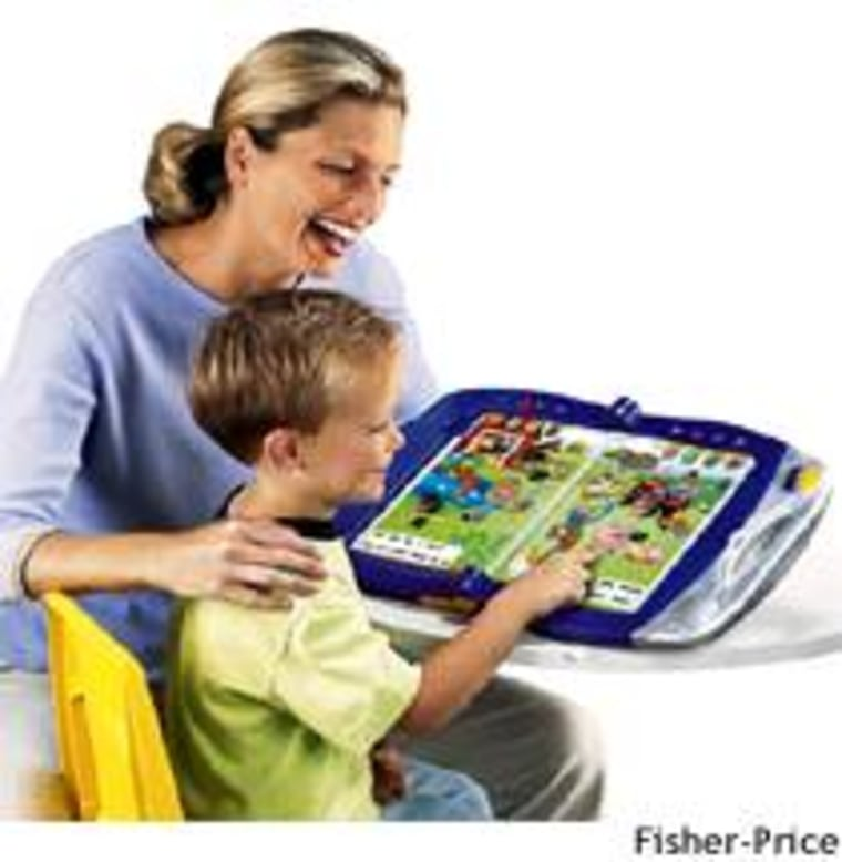 Fisher-Price's PowerTouch Learning System updates the activity book as a laptop for the preschool set.