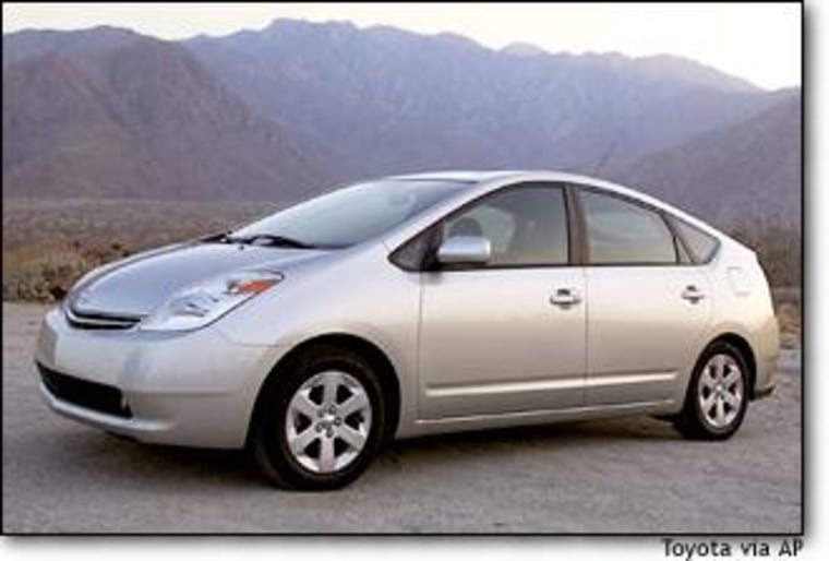 The 2004 Toyota Prius, a gas-electric hybrid, is rated at 60 miles per gallon in city driving and 51 MPG on the highway.