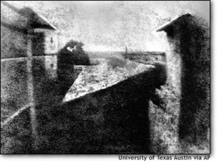 """This image, """"View from the Window at Le Gras,"""" is thought to be the world's first photograph, captured in 1826 from the window of a French farmhouse by Joseph Nicephore Niepce."""