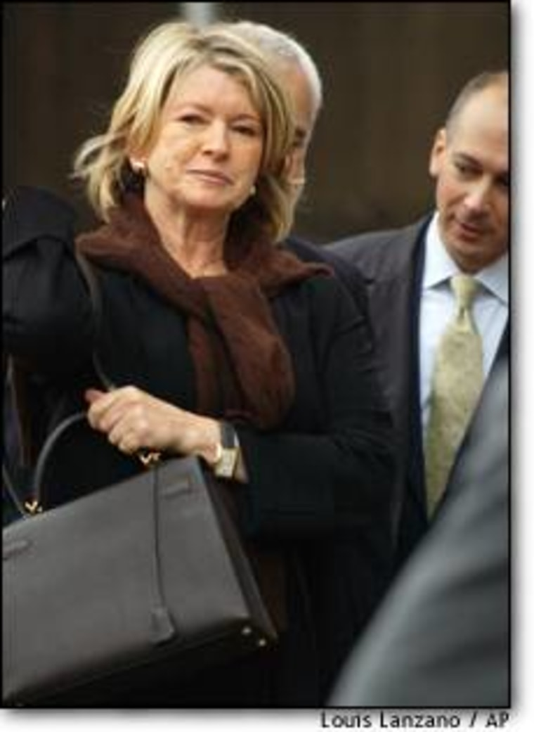 Martha Stewart, 62, is accused of conspiracy, obstructing justice, securities fraud and two counts of lying to investigators in connection with her Dec. 27, 2001, sale of about 4,000 shares of ImClone Systems stock.