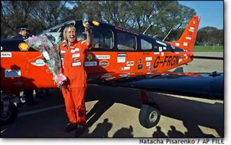 British aviator Polly Vacher, shown in an October photo taken in Buenos Aires, has reached Antarctica nearly halfway through her round-the-world flight, organizers say.
