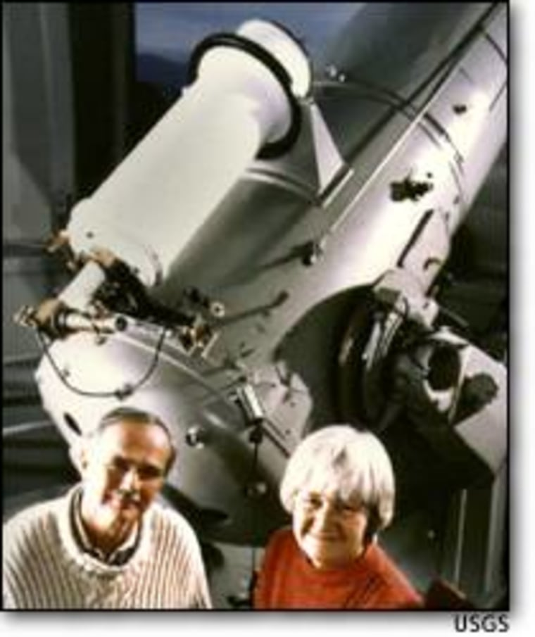Eugene Shoemaker with his wife, Carolyn, in a 1994 photo taken at the Palomar Observatory. Eugene died in an automobile accident in 1997.